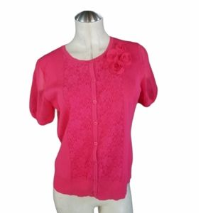 3/$25 Cable & Gauge Size L Button up Knit Top Pink